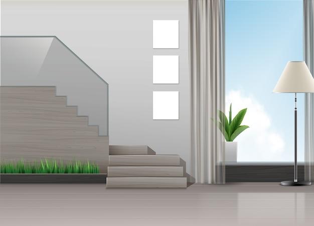 Ilustracja wystroju wnętrz w minimalistycznym stylu ze schodami, lampą, roślinami i dużym oknem