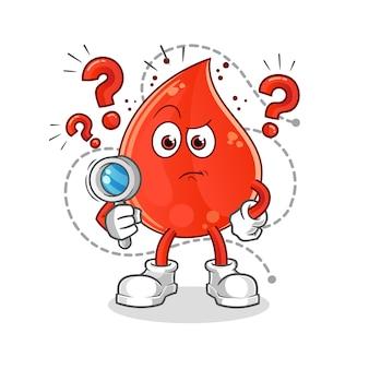 Ilustracja wyszukiwania kropli krwi. postać