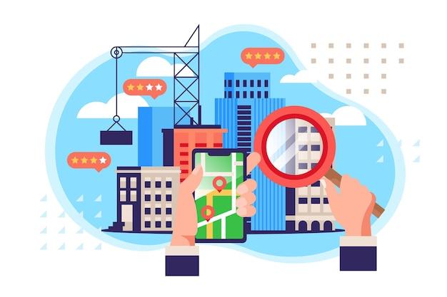Ilustracja wyszukiwania nieruchomości z telefonem i lupą