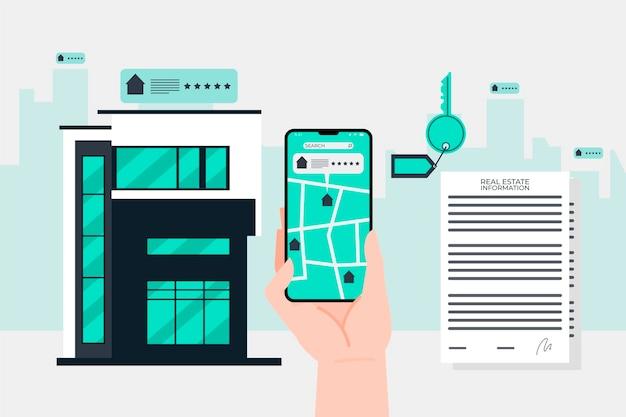 Ilustracja wyszukiwania nieruchomości z telefonem