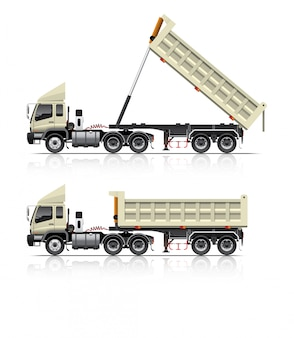 Ilustracja wywrotki ciężarówki z przyczepą