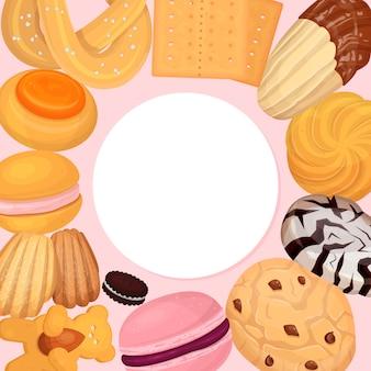 Ilustracja wzór ciasta ciasteczka. słodki pączek herbatników, pyszny słodki przysmak na słodycze