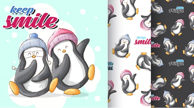 Ilustracja wzór ładny pingwina