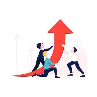 Ilustracja wzrostu biznesu w stylu płaski