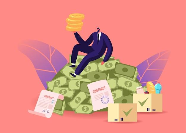 Ilustracja wzrostu gospodarczego, bogactwa i dobrobytu. bogaty męski charakter siedzący na stosie dolarów z monetami