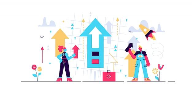 Ilustracja wzrostu. koncepcja małych osób zajmujących się rozwojem produktu. symboliczny i abstrakcyjny baner ze zwiększoną prezentacją wartości technologicznej i procesem produktywności. pomysł na strategię biznesową