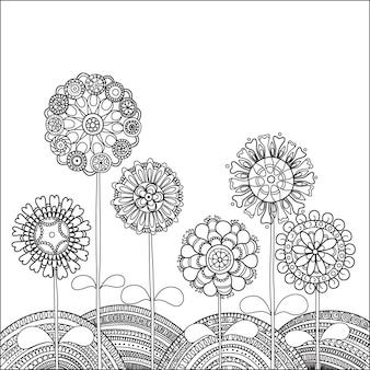 Ilustracja z abstrakcyjnymi kwiatami