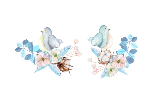 Ilustracja z akwarela ślicznych ptaków i błękitnymi roślinami