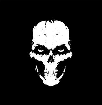 Ilustracja z białą czaszką na czarnym tle czaszka na tatuaże ilustracja na szalik