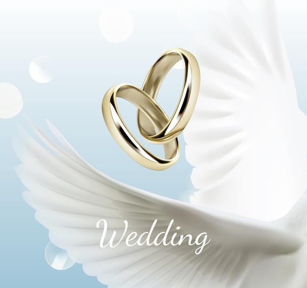Ilustracja z białymi skrzydłami gołębicy i dwa złote obrączki ślubne symbol miłości