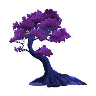 Ilustracja z bordowym zakrzywionym drzewem fantasy na białym tle. liście bordowe lub fioletowe i bajeczne nocne kolory.
