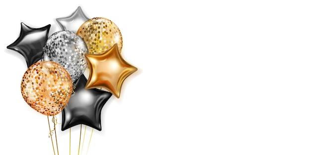 Ilustracja z bukietem błyszczących balonów w kolorach złotym, czarnym i srebrnym, okrągłym i w kształcie gwiazd, z wstążkami i cieniami, na białym tle