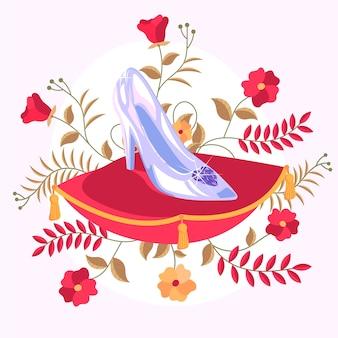 Ilustracja z buta ze szkła kopciuszka
