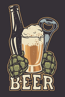 Ilustracja z butelką piwa i szyszek chmielowych.