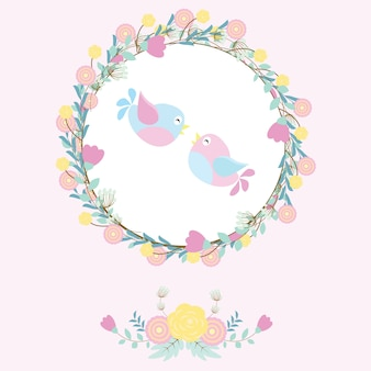 Ilustracja z cute para ptaków na wieniec kwiatów nadaje się do karty walentynki
