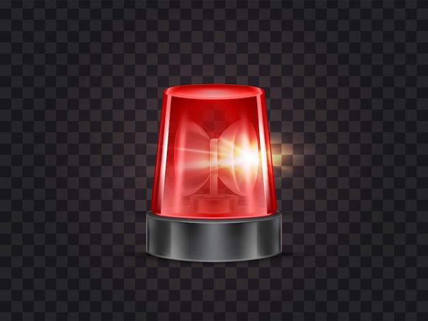 Ilustracja z czerwonym migaczem, migające światła ostrzegawcze z syreny dla samochodów policyjnych i pogotowia