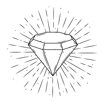Ilustracja z diamentem i rozbieżne promienie na tablicy.