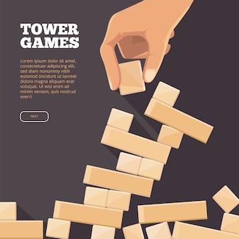 Ilustracja z drewnianą cegłą w ręku. koncepcja gry tower