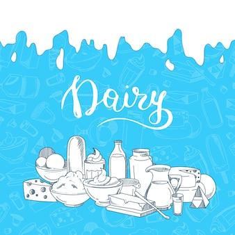 Ilustracja z dużym stosem naszkicowanych produktów mlecznych, mleko kapie z góry i napis mleczarski