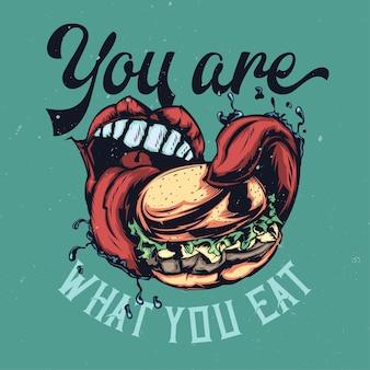 Ilustracja z dużymi ustami, jedzenie dużego burgera z napisem