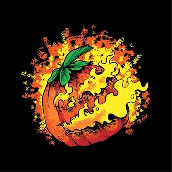 Ilustracja z dyni na halloween, odpowiednia na t-shirty, odzież, produkty drukowane i towary