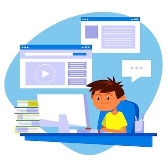 Ilustracja z dziećmi biorącymi lekcje projektowania online