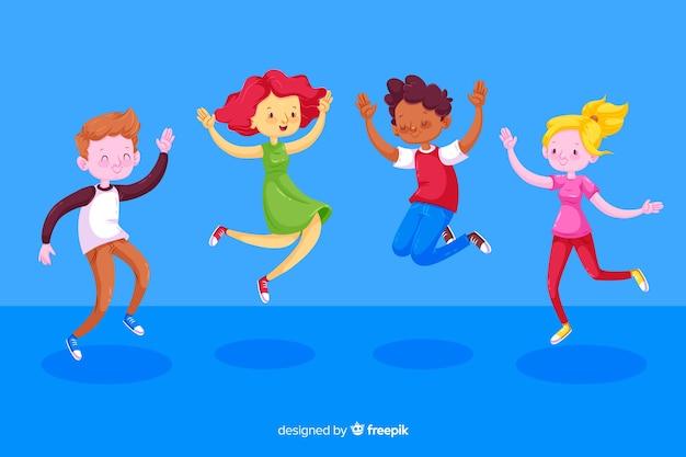 Ilustracja z dziećmi podskakuje