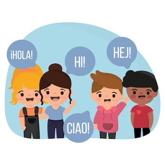 Ilustracja z dziećmi rozmawiającymi w innym języku