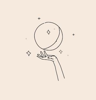 Ilustracja z elementem logo, artystyczna święta magiczna linia sztuki księżyca w pełni i gwiazd