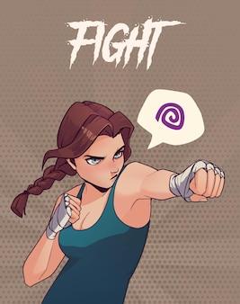 Ilustracja z gniewną dziewczyną bokserską z bandażami bokserskimi. modna ilustracja w stylu anime
