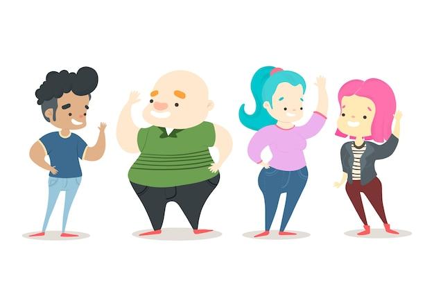 Ilustracja z grupą ludzi macha