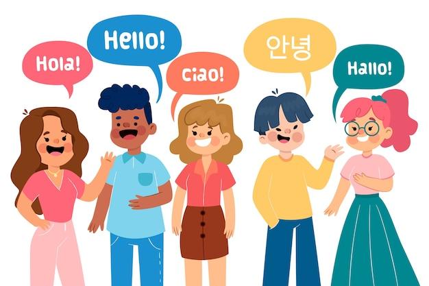 Ilustracja z grupą ludzi mówiących