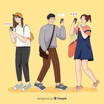 Ilustracja z grupą ludzi posiadających smartfony