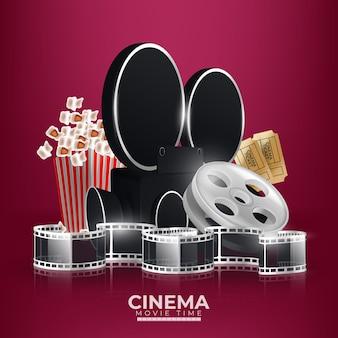 Ilustracja z kinową kamerą wideo, klapą popcornu i okularami 3d