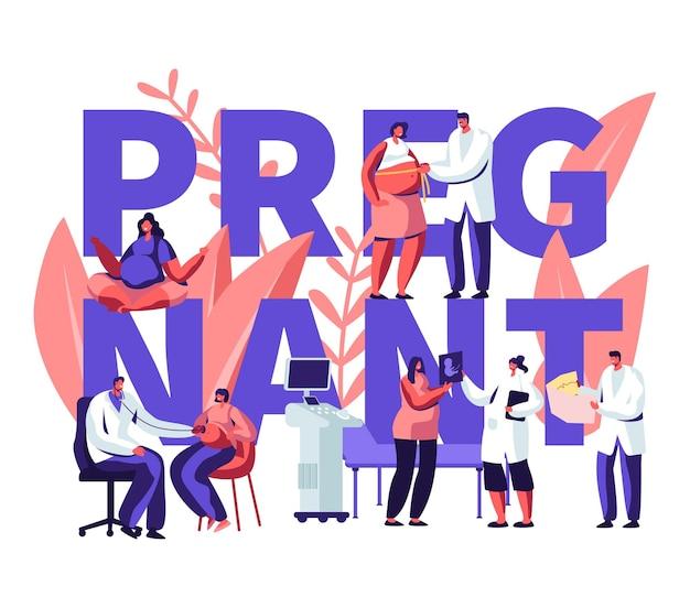 Ilustracja z kobietą w ciąży na wizytę u lekarza w klinice i tekst