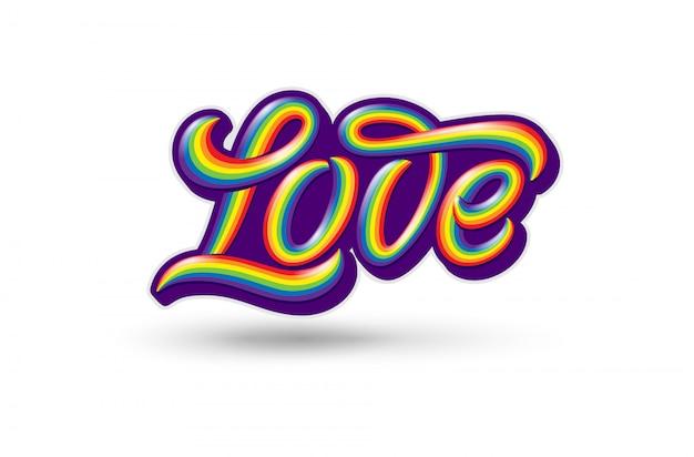 Ilustracja z kolorową odręczną miłością typografii na białym tle. godło homoseksualizmu. symbol dumy i miłości lgbt. szablon z napisem na naklejkę, nadruk na koszulce, logo.