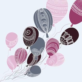 Ilustracja z kolorowymi latającymi balonami