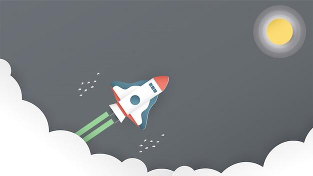 Ilustracja z koncepcji rozruchu w stylu cięcia papieru, rzemiosła i origami. rakieta leci.