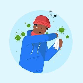 Ilustracja z koronawirusem osoby odkaszlającej