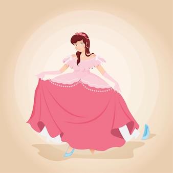 Ilustracja z księżniczką kopciuszek