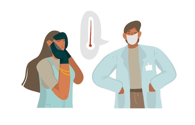 Ilustracja z lekarzem kobietą daje zalecenia telefonicznie, dobrze chronione w masce na twarz