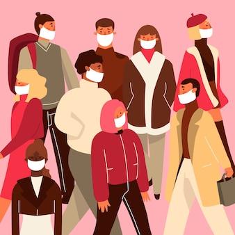 Ilustracja z ludźmi noszącymi medyczną maskę