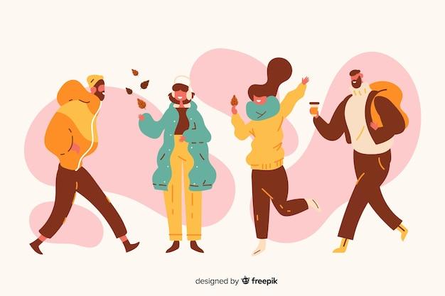 Ilustracja z ludźmi noszącymi ubrania jesienią