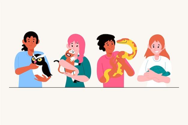 Ilustracja z ludźmi o różnych zwierzakach