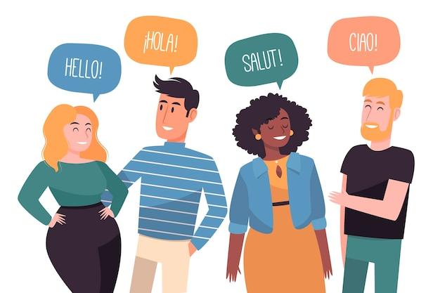 Ilustracja z ludźmi rozmawiającymi w różnych językach