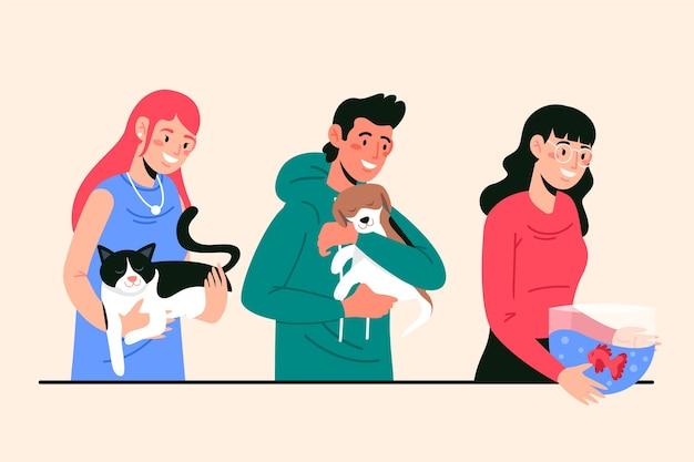 Ilustracja z ludźmi z różnymi zwierzętami domowymi