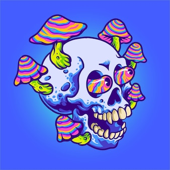 Ilustracja z magicznym grzybem i czaszką