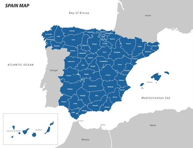 Ilustracja z mapy hiszpanii