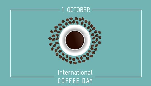 Ilustracja z międzynarodowego dnia kawy, szablon projektu