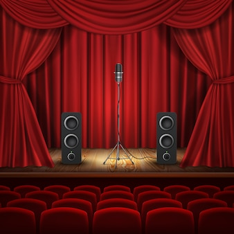 Ilustracja z mikrofonem i głośnikami na podium. sala z czerwonymi zasłonami do prezentacji